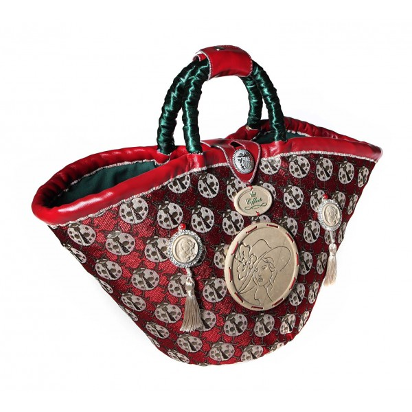 Coffarte - Medium Ladybug Coffa - Sicilian Artisan Handbag - Sicilian Coffa - Luxury High Quality Handicraft Bag