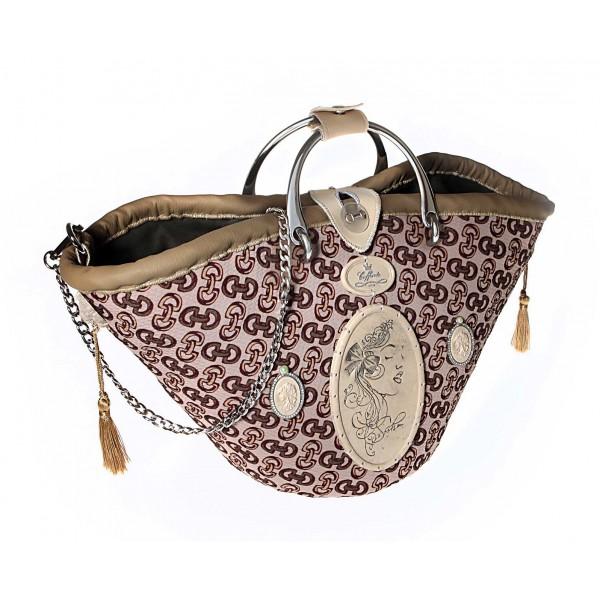 Coffarte - Medium Modern Woman Beige Coffa - Sicilian Artisan Handbag - Sicilian Coffa - Luxury High Quality Handicraft Bag