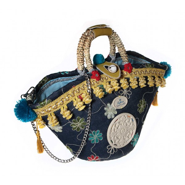 Coffarte - Medium Jeans Coffa - Sicilian Artisan Handbag - Sicilian Coffa - Luxury High Quality Handicraft Bag