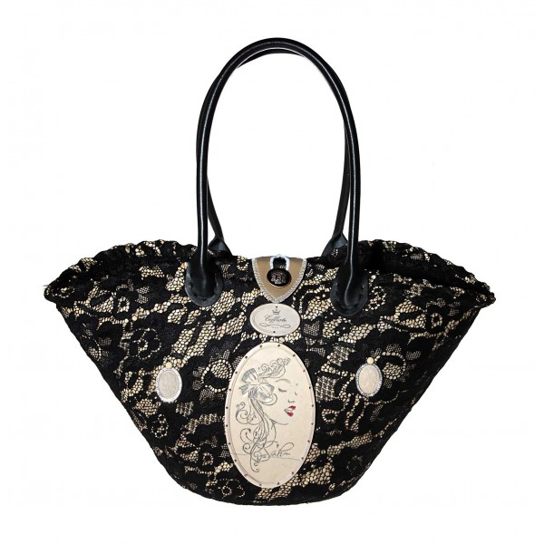 Coffarte - Medium Modern Woman Black Coffa - Sicilian Artisan Handbag - Sicilian Coffa - Luxury High Quality Handicraft Bag