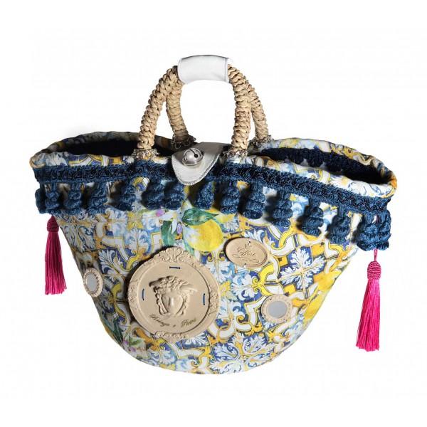 Coffarte - Medium Lemon Coffa - Sicilian Artisan Handbag - Sicilian Coffa - Luxury High Quality Handicraft Bag