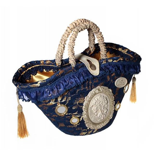 Coffarte - Medium Blue Cameo Coffa - Sicilian Artisan Handbag - Sicilian Coffa - Luxury High Quality Handicraft Bag