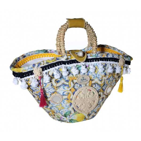Coffarte - Medium Majolica Coffa - Sicilian Artisan Handbag - Sicilian Coffa - Luxury High Quality Handicraft Bag