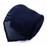 Serà Fine Silk - Navy Blue Grenadine - Silk Tie - Handmade in Italy - Luxury High Quality Tie