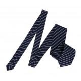 Serà Fine Silk - Navy Blue & White Striped Grenadine - Silk Tie - Handmade in Italy - Luxury High Quality Tie