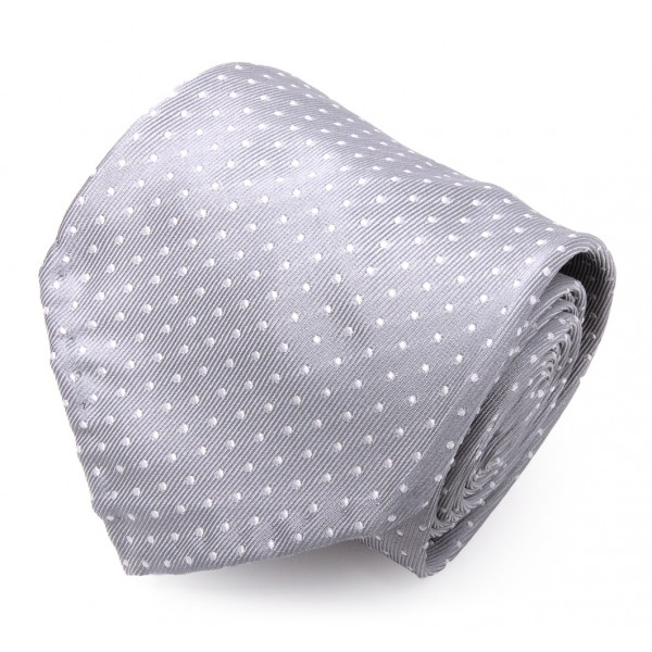 Serà Fine Silk - Grey Dots Jacquars Grenadine - Silk Tie - Handmade in Italy - Luxury High Quality Tie