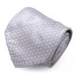 Serà Fine Silk - Grey Dots Jacquars Grenadine - Silk Tie - Handmade in Italy - Luxury High Quality Tie