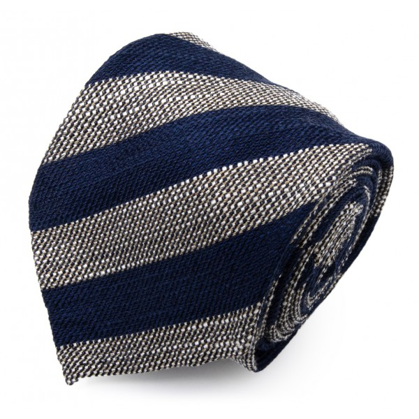 Serà Fine Silk - Navy Blue Big Striped Grenadine - Silk Tie - Handmade in Italy - Luxury High Quality Tie