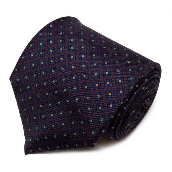 Serà Fine Silk - Purple with Navy Small Diamond Pattern - Silk Tie - Handmade in Italy - Luxury High Quality Tie