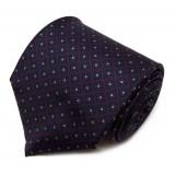 Serà Fine Silk - Purple with Navy Small Diamond Pattern - Silk Tie - Handmade in Italy - Luxury High Quality Tie