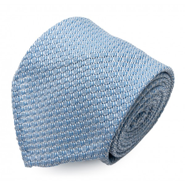 Serà Fine Silk - Light Blue Garza Grossa Grenadine - Silk Tie - Handmade in Italy - Luxury High Quality Tie