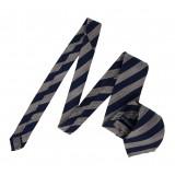 Serà Fine Silk - Navy Blue Big Striped Grenadine - Silk Tie - Handmade in Italy - Luxury High Quality Tie