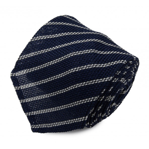 Serà Fine Silk - Navy Blue & White Striped Grenadine - Silk Tie - Handmade in Italy - Luxury High Quality Tie