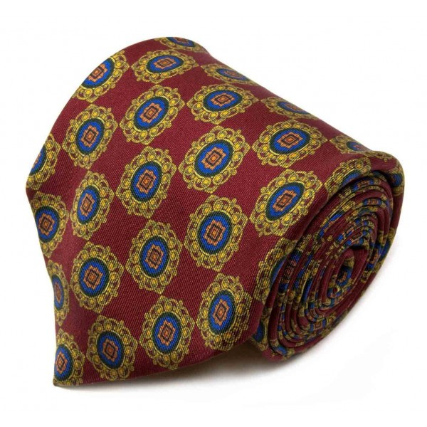 Serà Fine Silk - Red Royal Pattern - Silk Tie - Handmade in Italy - Luxury High Quality Tie