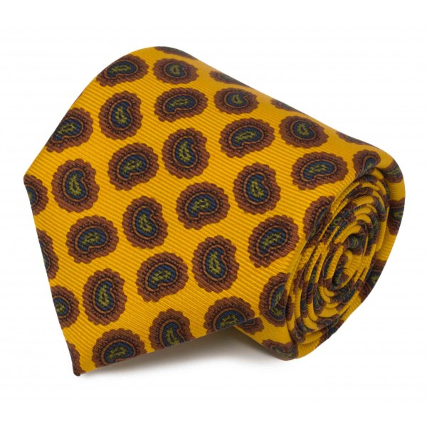 Serà Fine Silk - Yellow with Red Big Paisley Pattern - Silk Tie - Handmade in Italy - Luxury High Quality Tie
