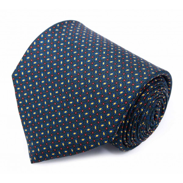 Serà Fine Silk - Green with Blue Small Oval Pattern - Silk Tie - Handmade in Italy - Luxury High Quality Tie