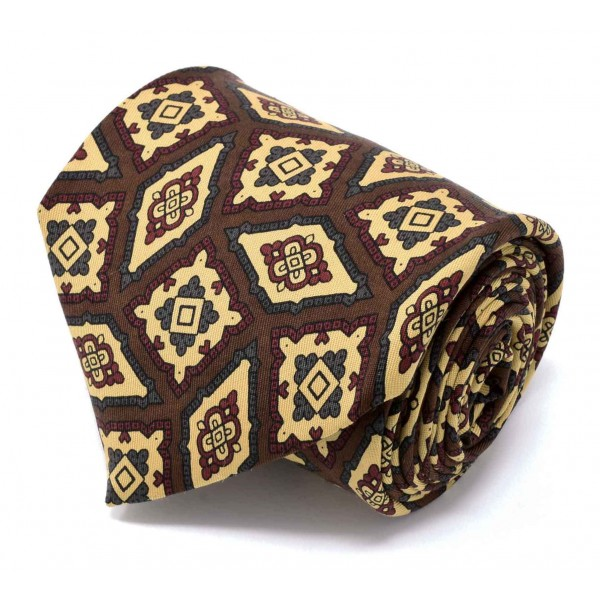 Serà Fine Silk - Brown with Diamond Pattern - Silk Tie - Handmade in Italy - Luxury High Quality Tie