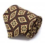 Serà Fine Silk - Brown with Diamond Pattern - Silk Tie - Handmade in Italy - Luxury High Quality Tie