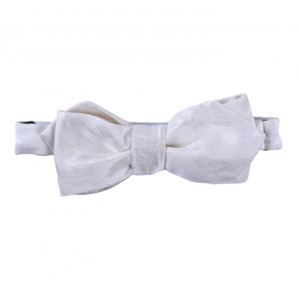 Serà Fine Silk - White Silk Pattern Pointed Tip - Silk Bow Tie - Handmade in Italy - Luxury High Quality Bow Tie