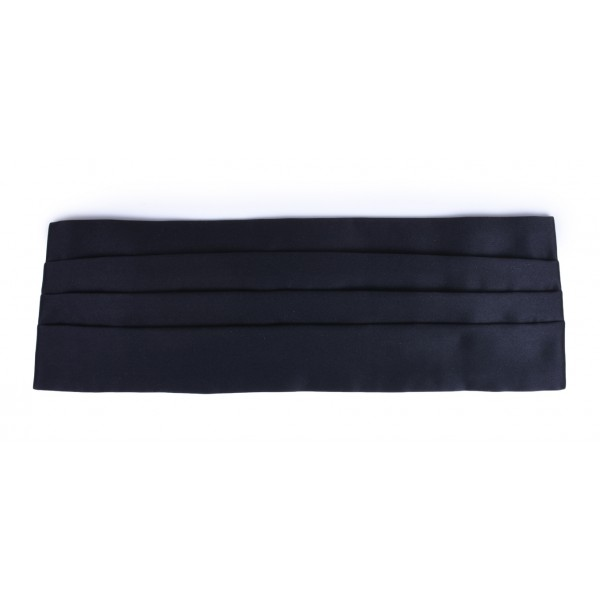 Serà Fine Silk - Black Silk 4 Pleat Cummerbund - Handmade in Italy - Luxury High Quality Smoking Cummerbund