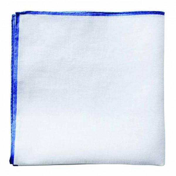 Serà Fine Silk - Royal Blue Linen - Linen Pocket Square - Handmade in Italy - Luxury High Quality Pocket Square