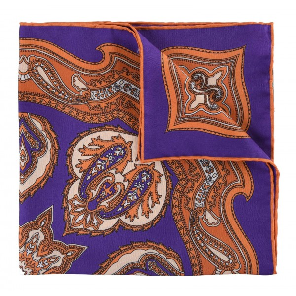 Serà Fine Silk - Violet Chianti - Silk Pocket Square - Handmade in Italy - Luxury High Quality Pocket Square