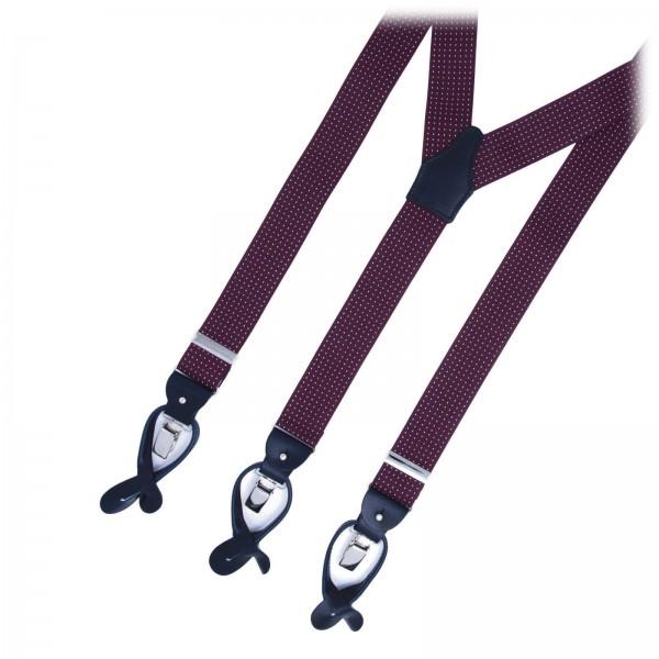 Serà Fine Silk - Burgundy Polka Dots - Silk Suspenders - Handmade in Italy - Luxury High Quality Suspenders