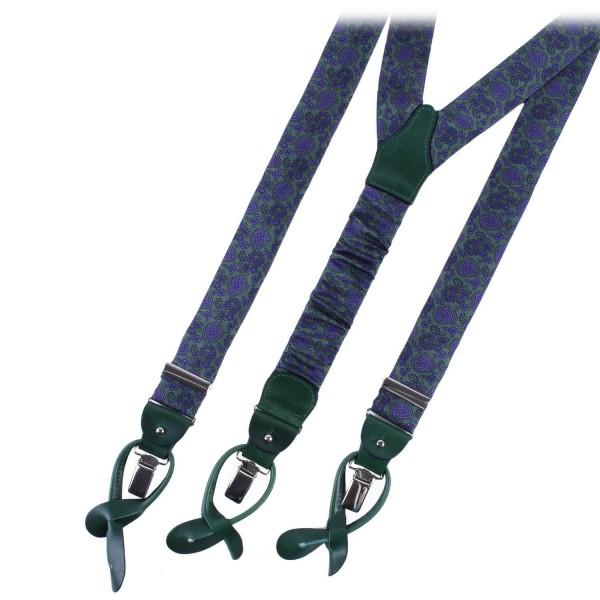 Serà Fine Silk - Green Prosecco Print - Silk Suspenders - Handmade in Italy - Luxury High Quality Suspenders