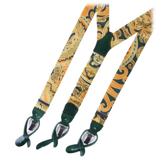 Serà Fine Silk - Yellow Green - Silk Suspenders - Handmade in Italy - Luxury High Quality Suspenders
