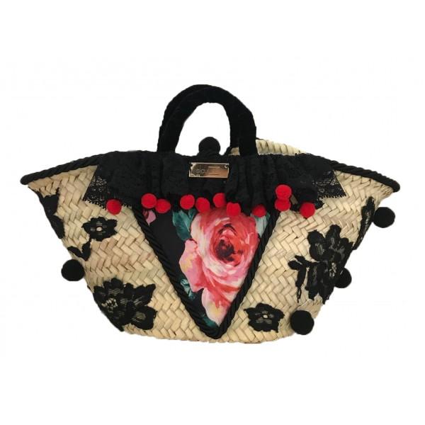 SicuLAB - Coffa Rose - Sicilian Artisan Handbag - Sicilian Coffa - Luxury High Quality Handicraft Bag