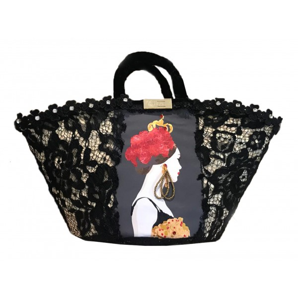 SicuLAB - Coffa Queen - Sicilian Artisan Handbag - Sicilian Coffa - Luxury High Quality Handicraft Bag