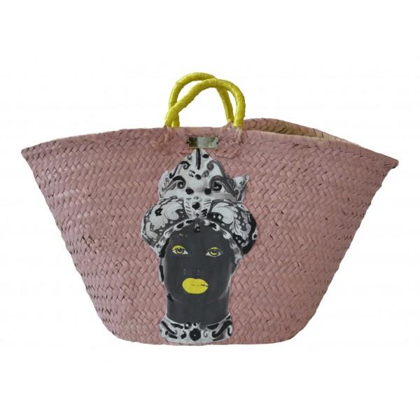 SicuLAB - Coffa Moro Pink - Sicilian Artisan Handbag - Sicilian Coffa - Luxury High Quality Handicraft Bag
