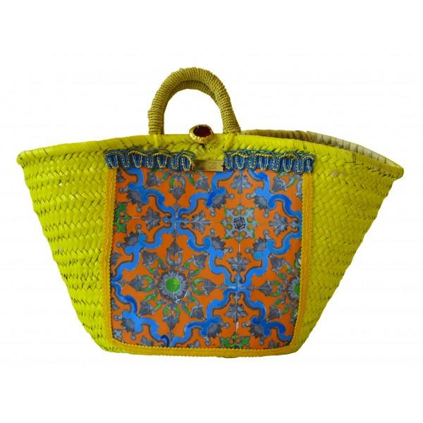 SicuLAB - Coffa Yellow - Sicilian Artisan Handbag - Sicilian Coffa - Luxury High Quality Handicraft Bag