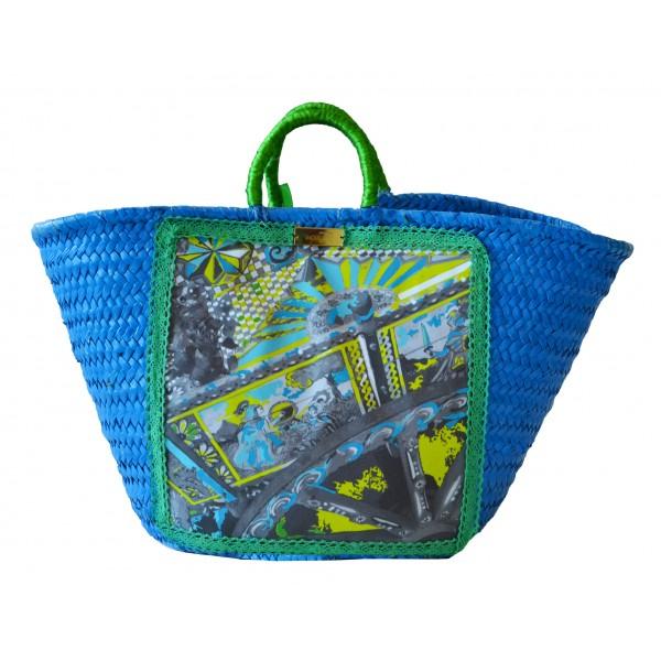 SicuLAB - Coffa Azure - Sicilian Artisan Handbag - Sicilian Coffa - Luxury High Quality Handicraft Bag