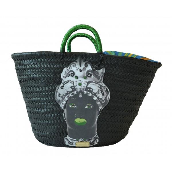 SicuLAB - Coffa Moro Black - Sicilian Artisan Handbag - Sicilian Coffa - Luxury High Quality Handicraft Bag