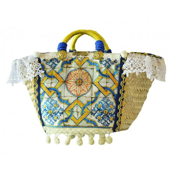 SicuLAB - Coffa Ceramic - Sicilian Artisan Handbag - Sicilian Coffa - Luxury High Quality Handicraft Bag