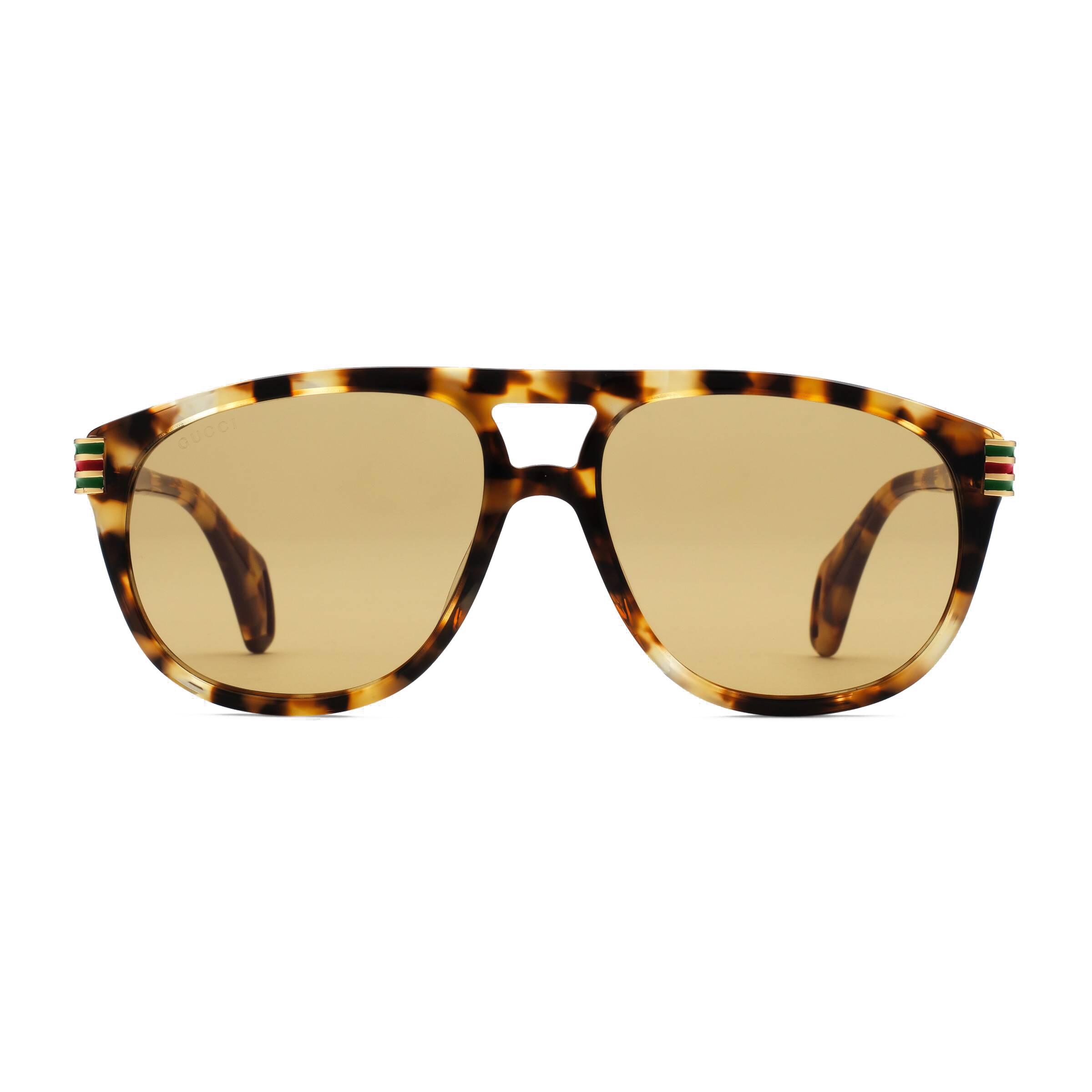 b8e9e39f Gucci - Aviator Sunglassed with Web Enamel - Turtle - Gucci ...