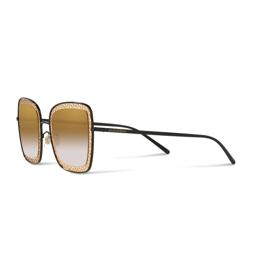 12e3df44ac5b ... Dolce & Gabbana - Square Devotion Sunglasses with Lace - Black & Gold -  Dolce ...