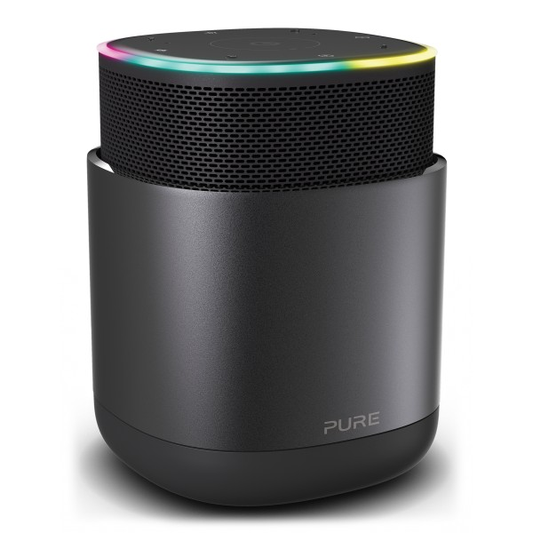 Pure - DiscovR - Graphite - Portable Smart Speaker - Alexa Built-In, Enhanced Music Discovery - High Quality Digital Radio