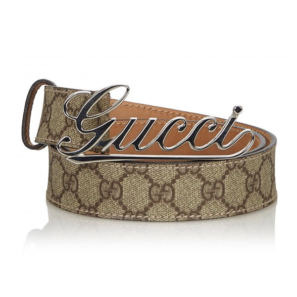 Gucci Vintage - Leather GG Supreme Belt - Marrone - Cintura in Pelle - Alta Qualità Luxury