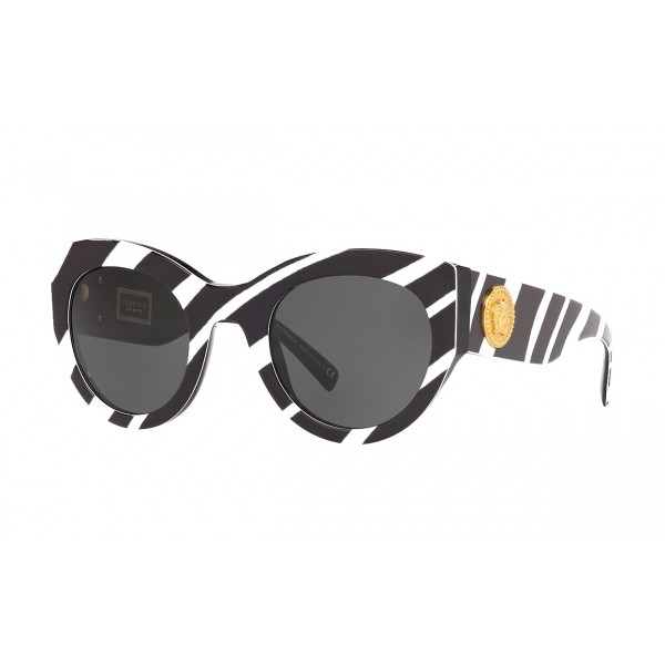 Versace - Occhiale da Sole Versace Tribute con Stampa Zebra - Neri - Occhiali da Sole - Versace Eyewear