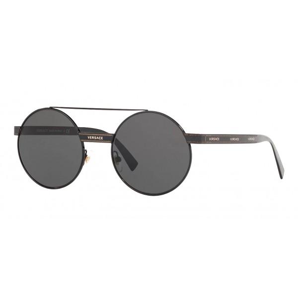 Versace - Occhiale da Sole Versace Rotondi Logomania - Grigi - Occhiali da Sole - Versace Eyewear