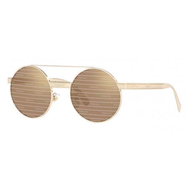 Versace - Occhiale da Sole Versace Rotondi Logomania - Oro - Occhiali da Sole - Versace Eyewear