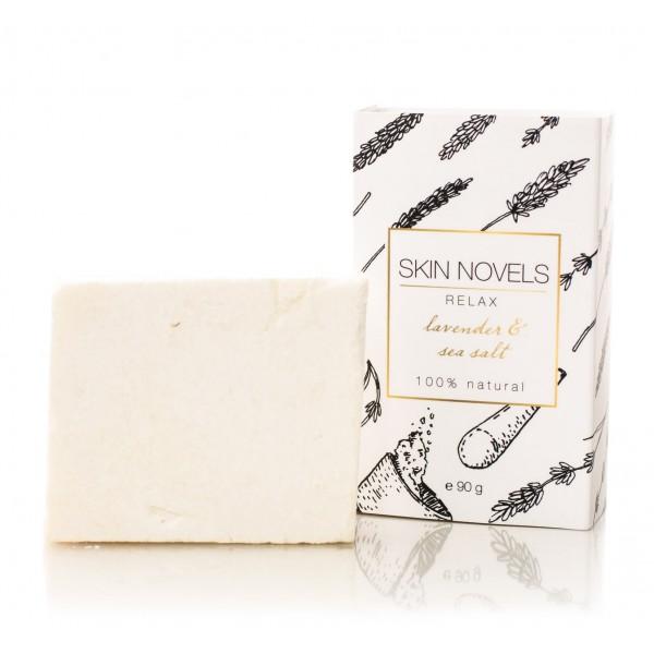 Skin Novels - Relax - Sapone Naturale con Lavanda e Sale Marino - Sapone Naturale al 100 % Realizzato a Mano