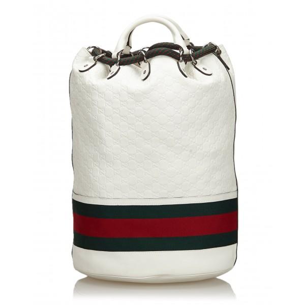 Gucci Vintage - Guccissima Web Aquariva Backpack - Bianco Rosso - Zaino in Pelle - Alta Qualità Luxury