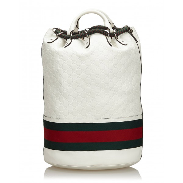 Gucci Vintage - Guccissima Web Aquariva Backpack - White Red - Leather Backpack - Luxury High Quality