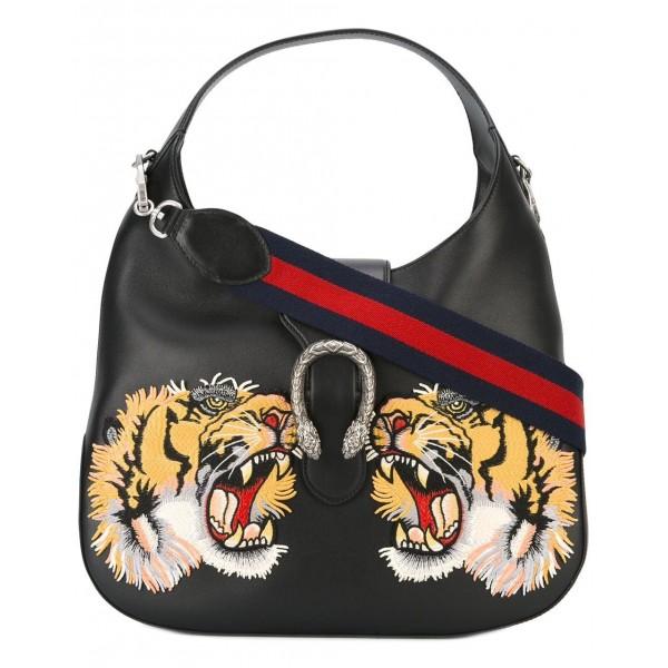 Gucci Vintage - Patched Leather Dionysus Satchel Bag - Nero - Borsa in Pelle - Alta Qualità Luxury