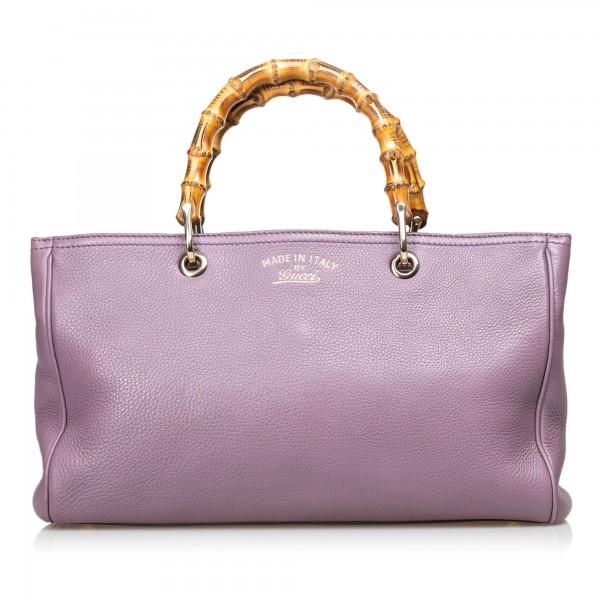 Gucci Vintage - Bamboo Leather Shopper Bag - Purple - Leather Handbag - Luxury High Quality