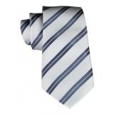 Cravates E.G. - Cravatta a Doppia Striscia - Grigio e Grigio Ghiaccio