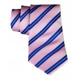 Cravates E.G. - Cravatta a Doppia Striscia - Rosa Persiano e Klein Blu